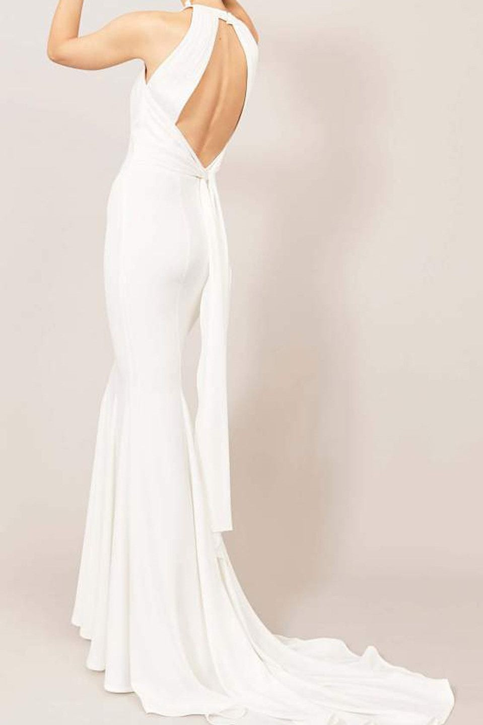 Vintage Jewel Neck Sleeveless Open Back Long Solid Mermaid Wedding Dress