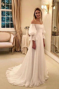 Vintage Off Shoulder Long Trumpet Sleeves Bridal Gown Long Chiffon Wedding Dress
