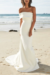 Vintage One Shoulder Long Mermaid Beach Bridal Wedding Dress with Sweep Train
