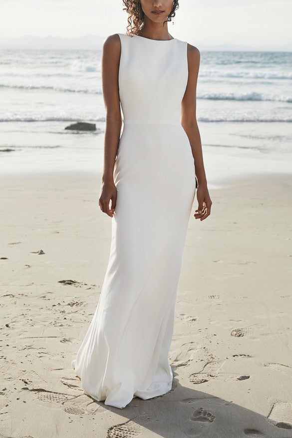 Vintage Scoop Neck Sleeveless Backless Long Beach Bridal Wedding Dress with Sweep Train
