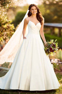 Vintage Spaghetti Straps Sleeveless Long Satin Trendy Bridal Wedding Dress with Sweep Train
