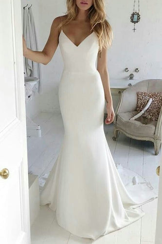 Vintage Spaghetti Straps Sleeveless Long Stretch Mermaid Bridal Wedding Dress