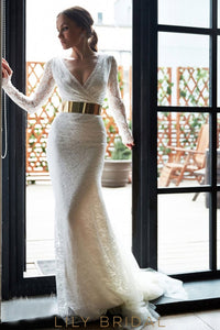 White Tulle Lace Wrap V-Neck Illusion Full Sleeves Prom Dress with Gold Belt