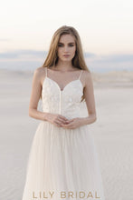 Tulle Beach Wedding Dress with Spaghetti Straps Sweetheart Neckline