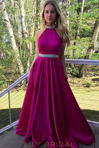 A-line Beaded High Neck Backless Fuchsia Satin Prom Dress
