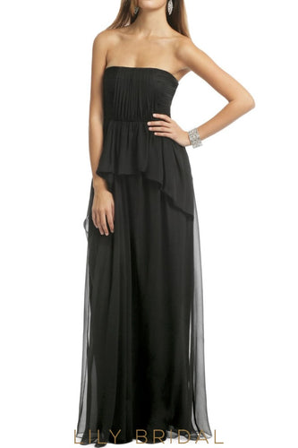 A-Line Black Chiffon Strapless Straight Across Bridesmaid Dress With Ruffles