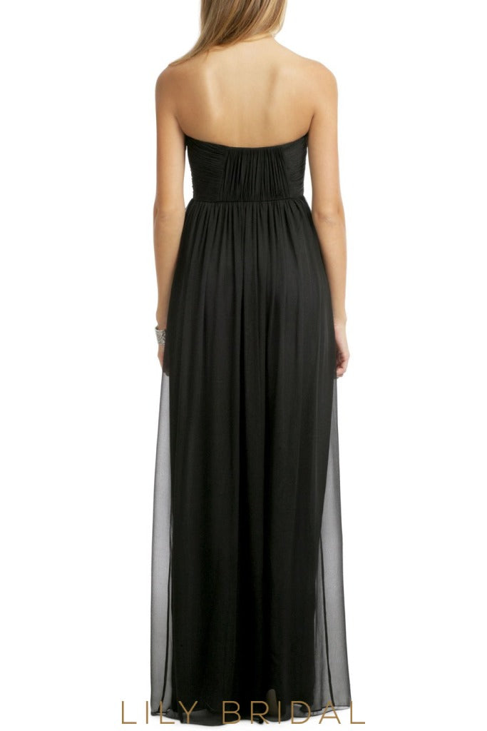 A-Line Black Strapless Straight Across Bridesmaid Dress With Ruffles