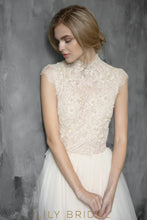 A-line Silhouette Cap Sleeves High Neckline Lace Wedding Dress