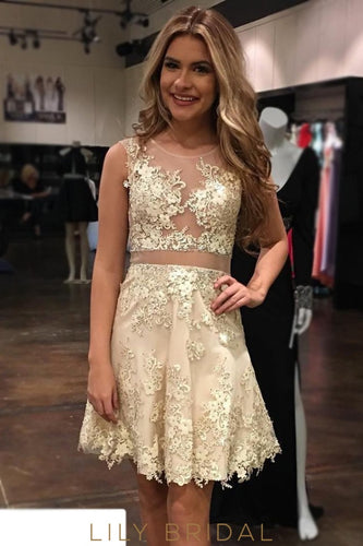 A-Line Champagne Scoop Neckline Sleeveless Short Prom Dresses