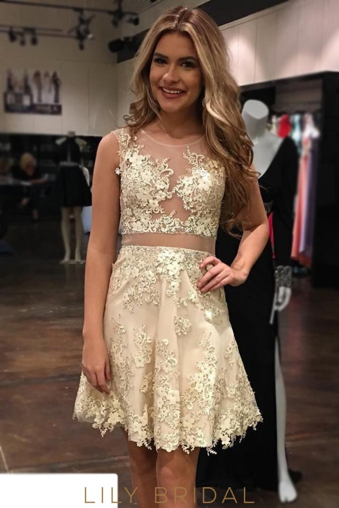 A-Line Champagne Jewel Neckline Sleeveless Short Prom Dresses