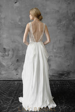 A-line Chiffon and Lace V-Neckline Sleeveless Wedding Dress