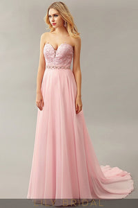 A-Line Chiffon Sweetheart Strapless Beaded Sweep Train Prom Dress