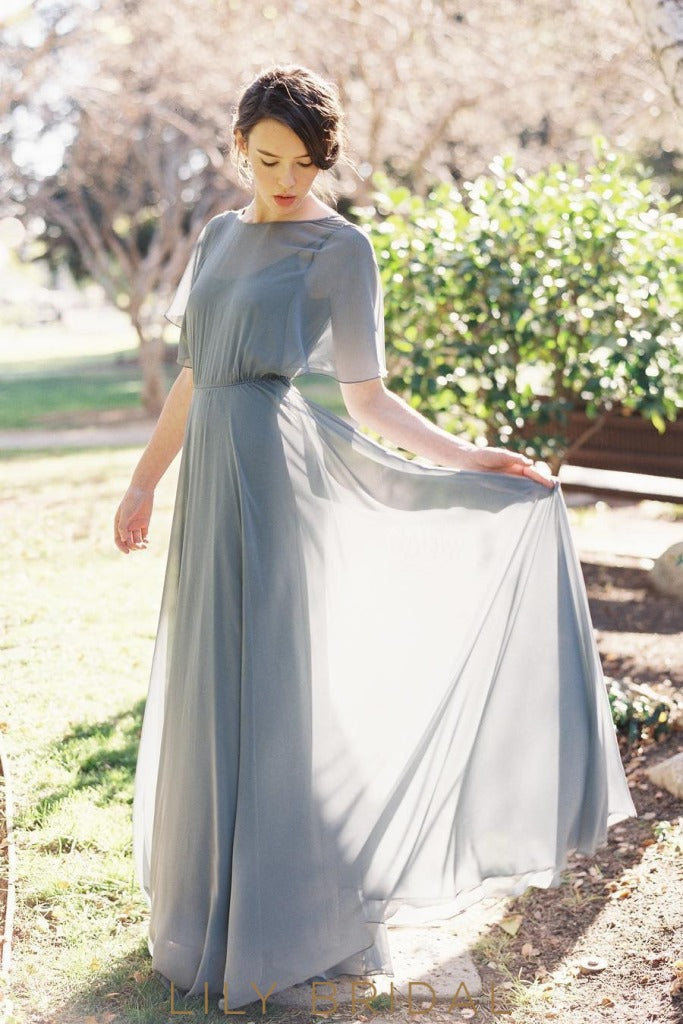 A-Line Chiffon Floor Length Steel Grey Bridesmaid Dress with Flutter Sleeve