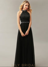 Chiffon High Neck Sleeveless Floor-Length Prom Dress