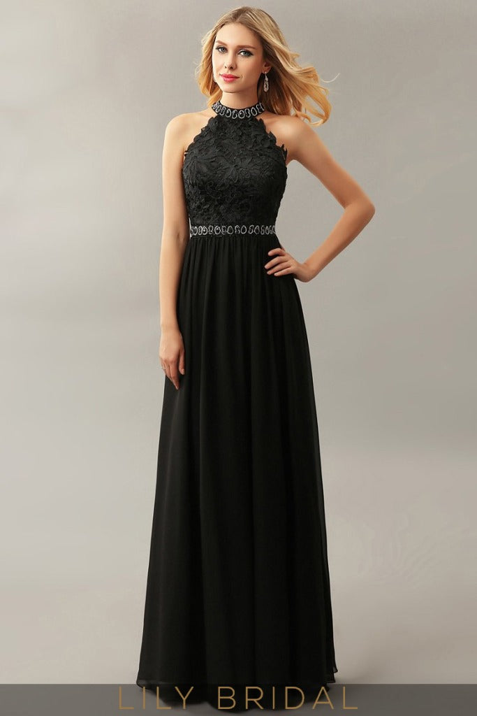 A-Line Chiffon High Neck Sleeveless Floor-Length Prom Dress