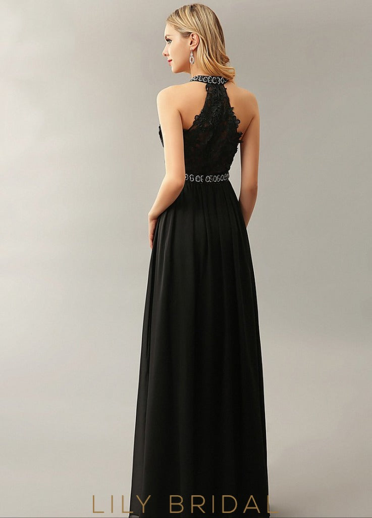 A-Line High Neck Sleeveless Floor-Length Prom Dress