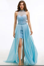 Chiffon Illusion Sweetheart High Neck Sleeveless Prom Dress