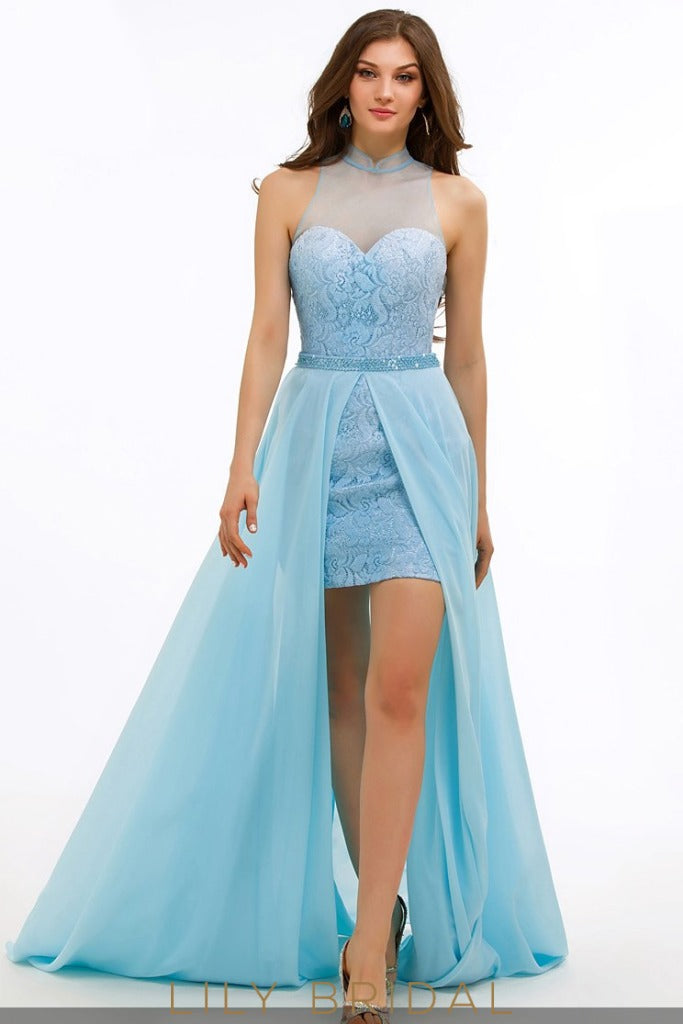 A-Line Illusion Sweetheart High Neck Sleeveless Prom Dress