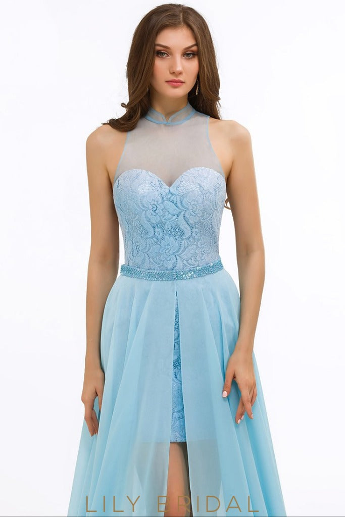 A-Line Chiffon Illusion Sweetheart High Neck Sleeveless Prom Dress