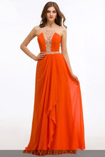 A-Line Chiffon Sleeveless Square Floor-Length Prom Dress