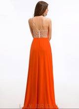 Chiffon Sleeveless Square Floor-Length Prom Dress