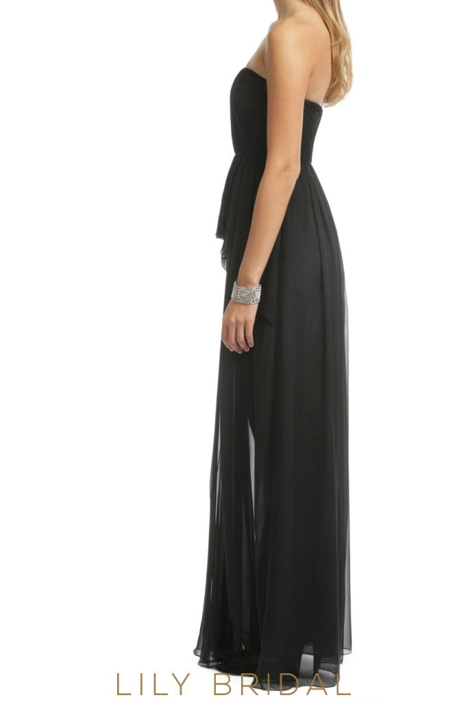 A-Line Black Chiffon Straight Across Bridesmaid Dress With Ruffles