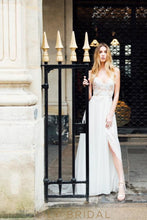 A-Line Destination Ivory Lace and Chiffon Wedding Dress with Deep Open