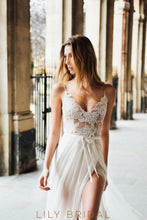 A-Line Destination Ivory Lace and Chiffon Wedding Dress with Deep Open Back