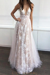 A-Line Floor Length Plunging V-Neck Champagne Prom Dress with Applique