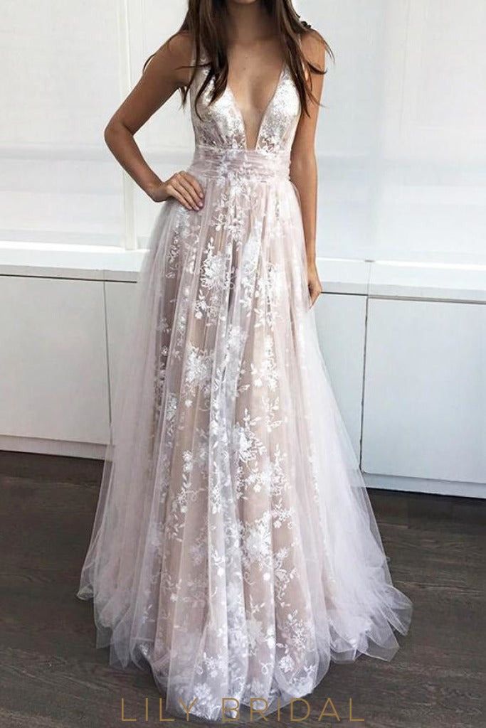 7330fe9d10 A-Line Floor Length Plunging V-Neck Champagne Prom Dress with Applique
