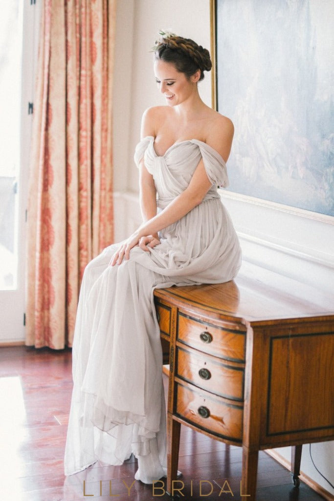 A-Line Grey Pleated Empire Waist Off-The-Shoulder Wedding Dress