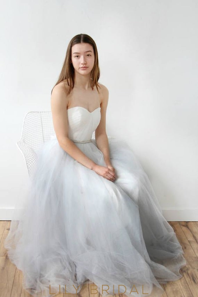 A-Line Grey Tulle Simple Wedding Dress with Sweetheart