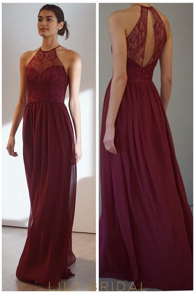 A-Line Halter Keyhole Back Floor-Length  Chiffon Bridesmaid Dress With Sheer Lace Top