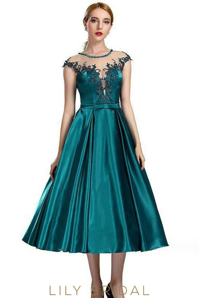A-line Illusion Appliqued Neckline Cap Sleeve Teal Green Satin Prom Dress