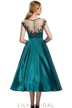 A-line Illusion Appliqued Neckline Sleeve Teal Green Satin Prom Dress