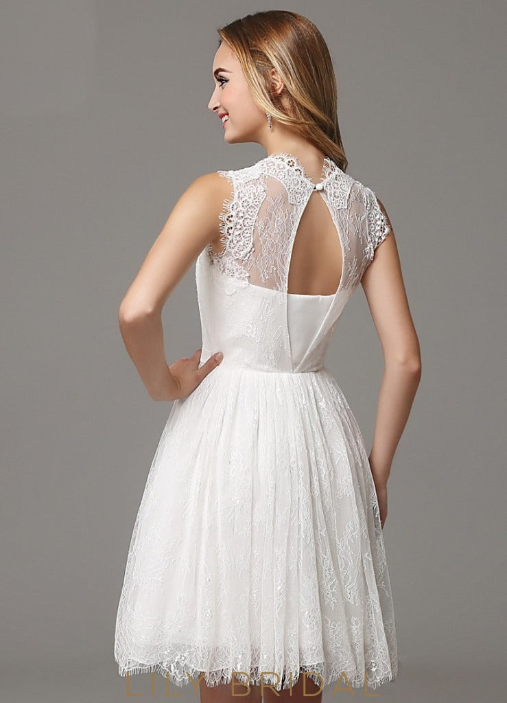 A-Line Illusion Sweetheart Sleeveless Lace Prom Dress with Beaded Belt
