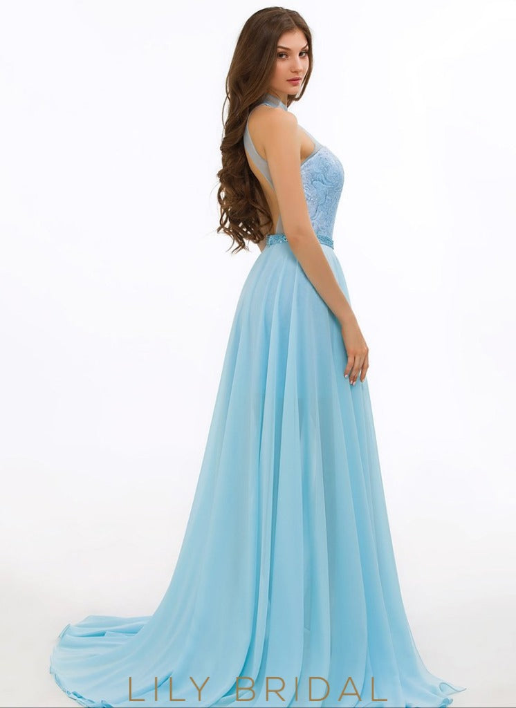 A-Line Chiffon Sweetheart High Neck Sleeveless Prom Dress