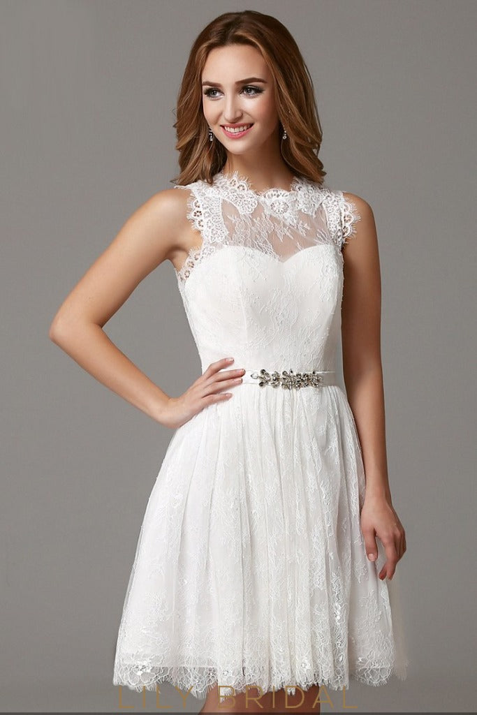 A-line Illusion Sweetheart Sleeveless Prom Dress with Beaded Belt