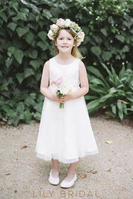 A-Line Jewel Neck Tea-Length Chiffon Flower Girl Dress