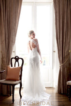 Tulle Deep V-Neckline Illusion Long Sleeve Wedding Dress