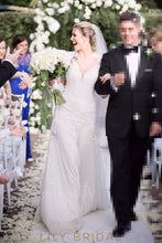 A-line Lace and Tulle Deep V-Neckline Illusion Long Sleeve Wedding Dress