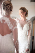 Lace and Tulle Deep V-Neckline Illusion Long Sleeve Wedding Dress