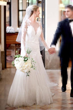 V-Neckline Illusion Long Sleeve Wedding Dress