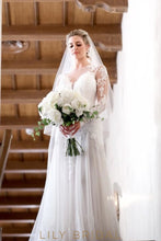A-line Lace and Tulle Deep V-Neckline Wedding Dress
