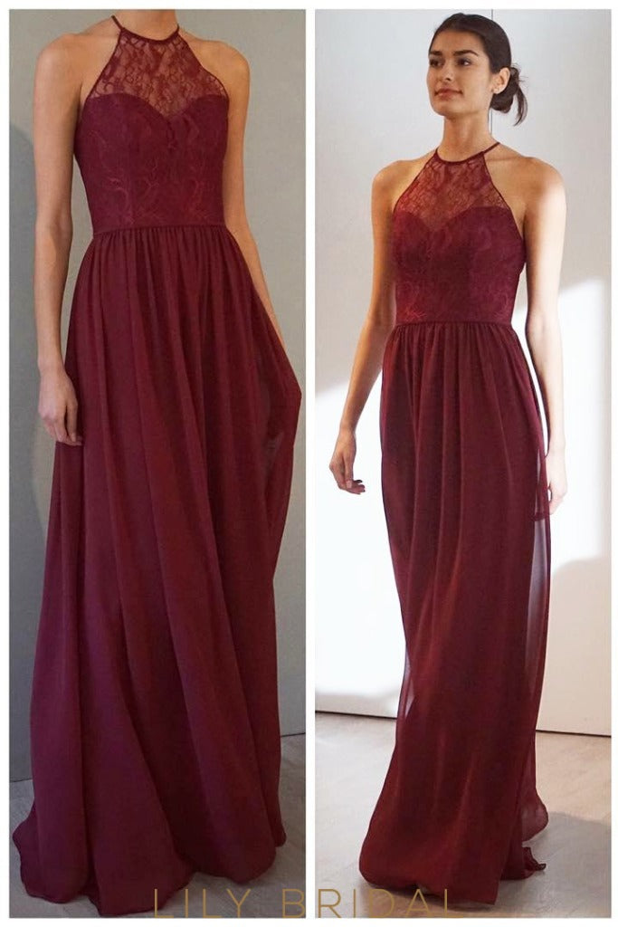 A-Line Halter Keyhole Back Floor-Length Burgundy Chiffon Bridesmaid Dress With Sheer Lace Top