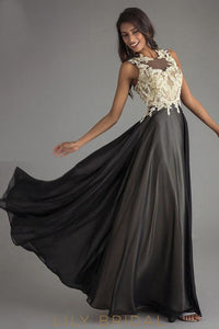 A-Line Lace Chiffon O-Neck Sleeveless Long With Keyhole Back Prom Dress