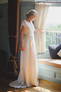 A-line V Neckline and Short Sleeves Wedding Dress