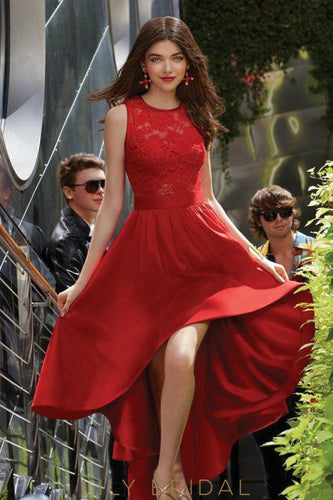 A-line Lace Satin High-low Jewel Neckline Sleeveless Red Prom Dress