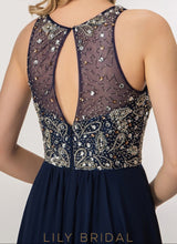 Long Sleeveless Keyhole Back Jewel Neckline Prom Dress