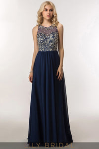 A-Line Long Sleeveless Keyhole Back Jewel Neckline Prom Dress